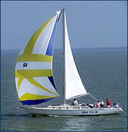 Rental sailboat sailing off Captiva Island in Florida